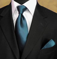 Luciano Ferretti 100% Woven Silk Necktie with Pocket Square - Dark Teal