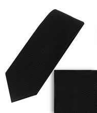 Antonia 100% Woven X-Long Silk Necktie with Pocket Square - Black