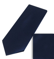 Antonia 100% Woven X-Long Silk Necktie with Pocket Square - Navy