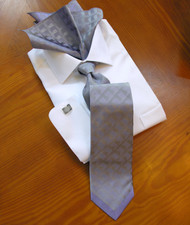 Pantani 100% Silk Woven Tie - Purple & Silver Abstract Border Design