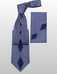 Outlet Center: Pantani 100% Silk Woven Tie - Blue Diamonds, Tie Only.