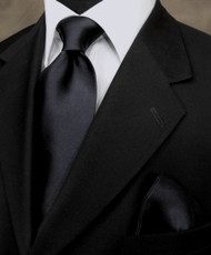Antonio Ricci 100% Satin Silk Tie - Black