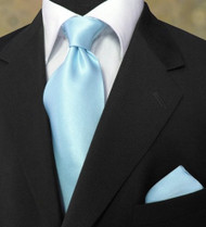 Antonio Ricci 100% Satin Silk Tie - Powder Blue