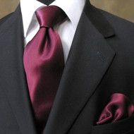 Antonio Ricci 100% Satin Silk Tie - Wine
