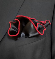 Antonio Ricci 2-in-1 Pouf Pocket Square -  Red on Black