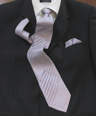 Pantani Double Diagonal Pleated 100% Woven Silk Tie - Lilac Weave