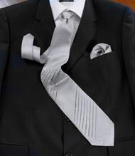 Pantani Double Diagonal Pleats 100% Woven Silk Tie - Grey