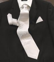 Pantani Front Diagonal Pleats 100% Woven Silk Tie - Ivory