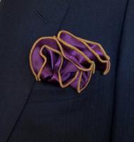 Antonio Ricci 2-in-1 Pouf Pocket Square - Gold on Purple