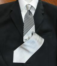 Emilio Romano 100% Silk Italian-made Necktie - Silver with Black Stripes