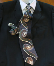 Enrico Rossini 100% Printed Silk Italian Tie - Black Art Nouveau Swirl Design