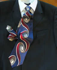 Enrico Rossini 100% Printed Silk Italian Tie - Blue Art Nouveau Swirl Design