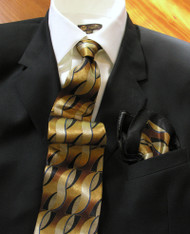 Fabio Fazio 100% Silk Tie with Matching Pocket Square - Gold Ribbon Design
