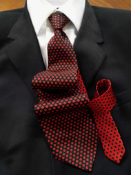 Fabio Fazio 100% Silk Tie - Black and Red Dots