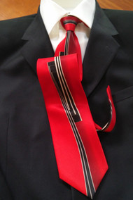 Fabio Fazio 100% Silk Tie - Red Line Design