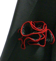 Antonio Ricci 2-in-1 Pouf Crinkle Pocket Square - Red on Black