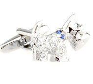 Crystal Small Scottish Terrier Dog Cufflinks (V-CF-C50385BL)