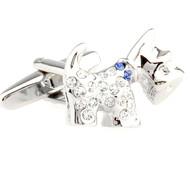 Crystal Small Scottish Terrier Dog Cufflinks (V-CF-C50385BL)
