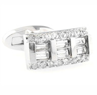 Diamond Baguettes Crystal Cufflinks (V-CF-C40327C-S)