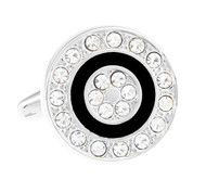 Diamond Crystal Circle Cufflinks (V-CF-61360)