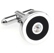 Diamond Crystal in a Black Circle Cufflinks (V-CF-C5906C)