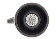 Diamond Crystal Round Tungsten Cufflinks (V-CF-C68396-T)