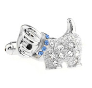 Diamond Crystal Small Dog Cufflinks (V-CF-C70682BL)