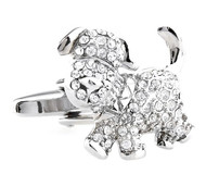 Diamond Swarovski® Crystal Puppy Dog Cufflinks (V-CF-C61618C)