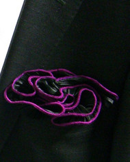 Antonio Ricci 2-in-1 Pouf Crinkle Pocket Square - Purple on Black
