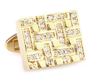 Diamond Swarovski® Crystals Gold Rectangle Cufflinks (V-CF-C250061C)