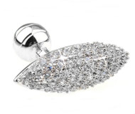 Extra Large 14KT Gold Overlay Diamond Swarovski® Crystal Cufflinks (V-CF-C2100C-S)