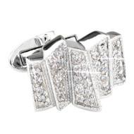 Geometric Diamond Swarovski® Crystal Cufflinks (V-CF-C1002C-S)