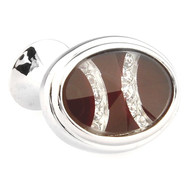 Glass Encased Swarovski® Crystal Oval Cufflinks (V-CF65286)