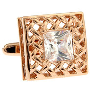 Large Princess Diamond Crystal Rose Gold Cufflinks (V-CF-C30113C-RG)