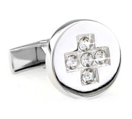 Round Clear Crystal Cross Center Cufflinks (V-CF-C6941C-S)