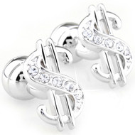 Silver Dollar Sign Swarovski® Crystal Cufflinks (V-CF-C729C-S)
