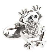 Silver Frog with Swarovski® Crystals Cufflinks (V-CF-C8075B-S)