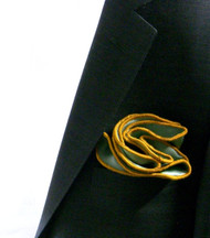 Antonio Ricci 100% Silk 2-in-1 Pouf Pocket Square - Gold on Olive