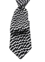 Antonio Ricci Vertical Pleated 100% Silk Tie - Black Design