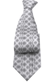 Antonio Ricci Vertical Pleated 100% Silk Tie - Grey Design