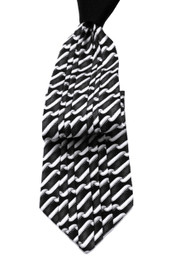 Antonio Ricci Vertical Pleated 100% Silk Tie - Black Design with Black Knot