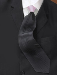 Antonio Ricci Vertical Pleated 100% Silk Tie - Contrasting Pink on Black