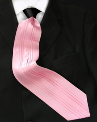 Antonio Ricci Vertical Pleated 100% Silk Tie - Contrasting Black on Pink