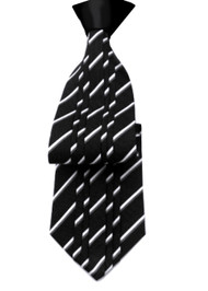 Antonio Ricci Vertical Pleated 100% Silk Tie - Black & White Design with Black Knot