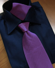 Antonio Ricci Satin Microfiber Diagonal Pleated Tie with Pocket Square - Dark Purple