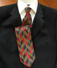 Garington Collection 100% Silk Tie - Blue and Red Curve Design