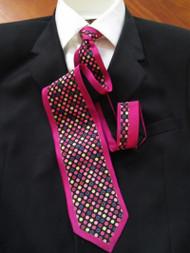 TuttoMatto 100% Silk Necktie - Fuchsia Dots
