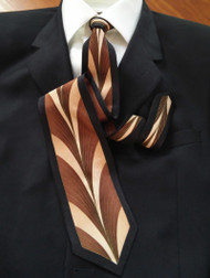 TuttoMatto 100% Silk Necktie - Brown and Black Outline Design