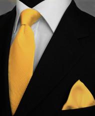 Antonio Ricci Satin Microfiber Diagonal Pleated Tie with Pocket Square - Golden Yellow