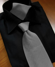 Antonio Ricci Satin Microfiber Diagonal Pleated Tie with Pocket Square - Charcoal